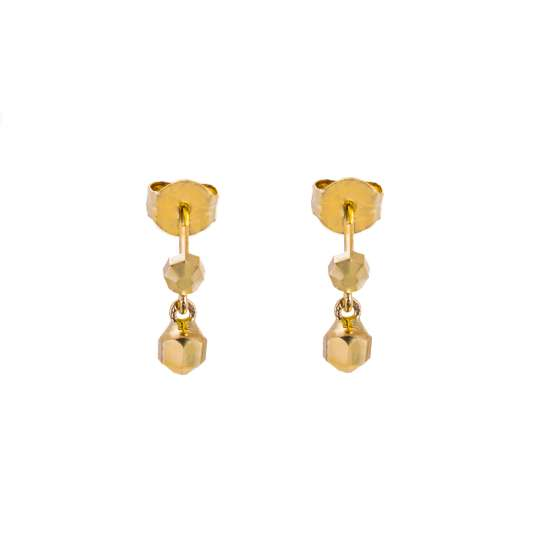 9ct Gold Double Faceted Ball Stud Drop Earrings