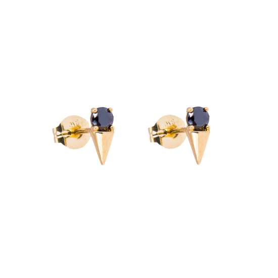 9ct Gold Black CZ Spike Stud Earrings