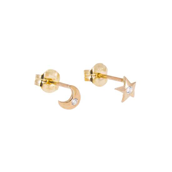 9ct Gold Clear CZ Star Moon Stud Earrings