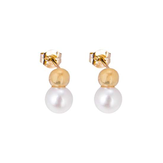 9ct Gold Ball Freshwater Pearl Stud Earrings