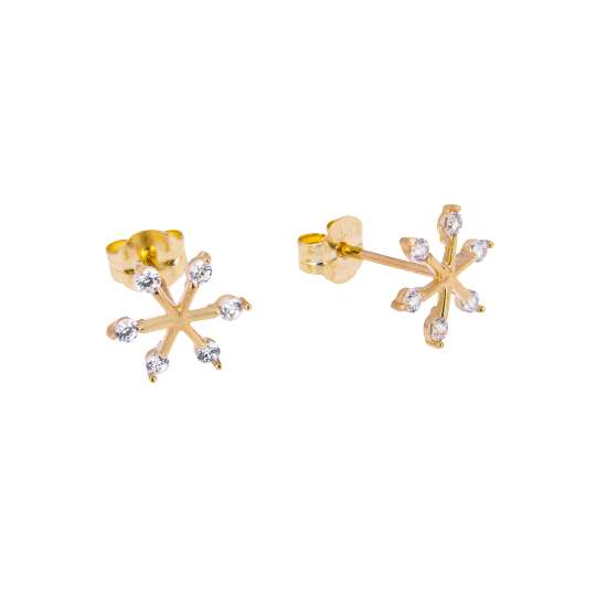9ct Gold Clear CZ Snowflake Stud Earrings