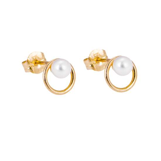 9ct Gold Freshwater Pearl Open Circle Stud Earrings