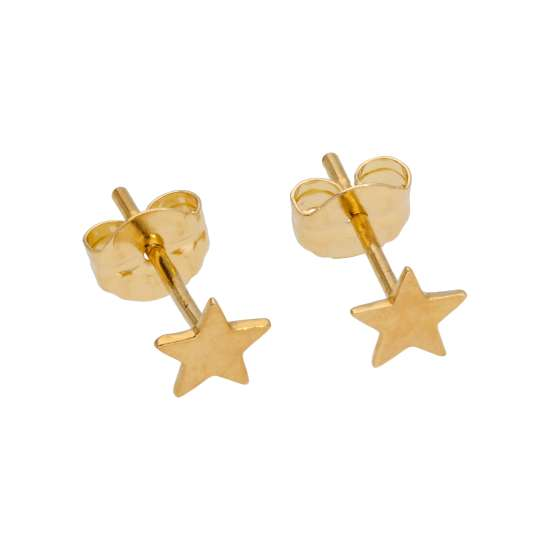9ct Gold Flat Star Stud Earrings
