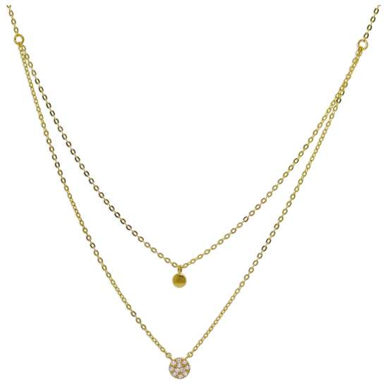 9ct Gold Clear CZ Circle Disc Layered Necklace