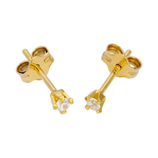 Gold Plated Sterling Silver & 2mm Round Clear CZ Crystal Stud Earrings
