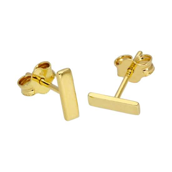 Gold Plated Sterling Silver Bar Stud Earrings