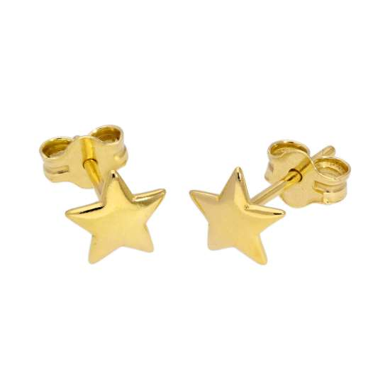 Yellow Gold Plated Sterling Silver Star Stud Earrings