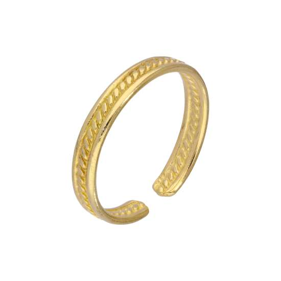 Yellow Gold Plated Sterling Silver Ribbed Adjustable 3mm Toe Ring