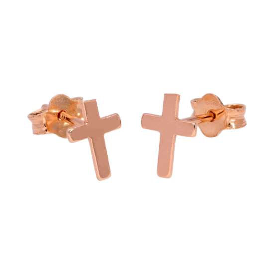 Rose Gold Plated Small Sterling Silver Cross Stud Earrings