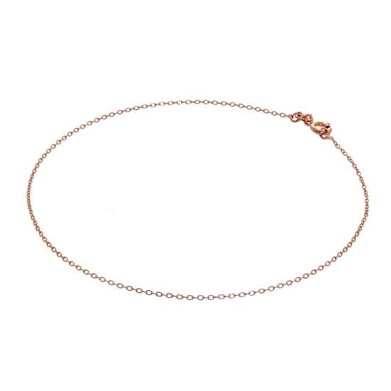 Fine Rose Gold Plated Sterling Silver Belcher Anklet - 10 Inches