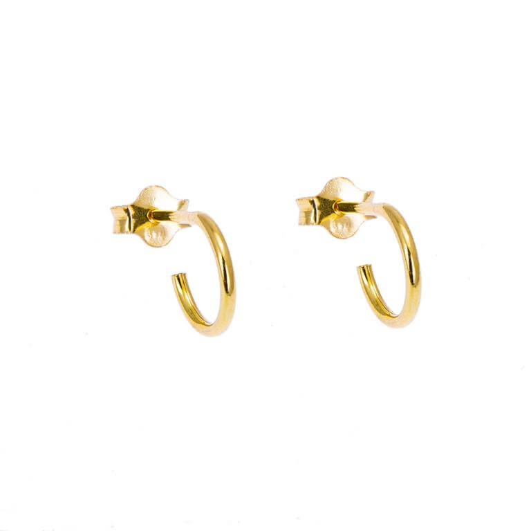 Gold Plated Sterling Silver Open 8mm Hoop Stud Earrings