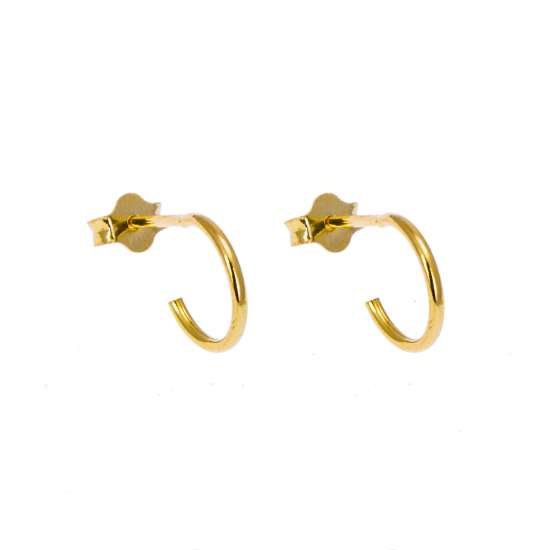 Gold Plated Sterling Silver Open 10mm Hoop Stud Earrings