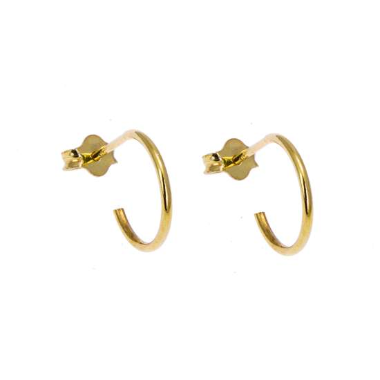Gold Plated Sterling Silver Open 12mm Hoop Stud Earrings