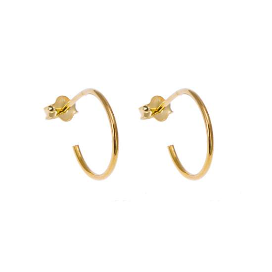 Gold Plated Sterling Silver Open 14mm Hoop Stud Earrings
