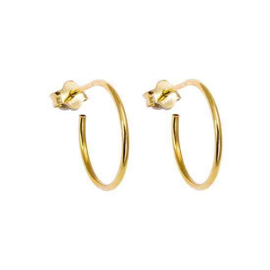 Gold Plated Sterling Silver Open 16mm Hoop Stud Earrings