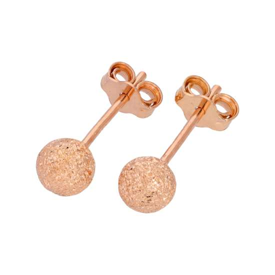 Rose Gold Plated Frosted Sterling Silver Ball Stud Earrings 5mm