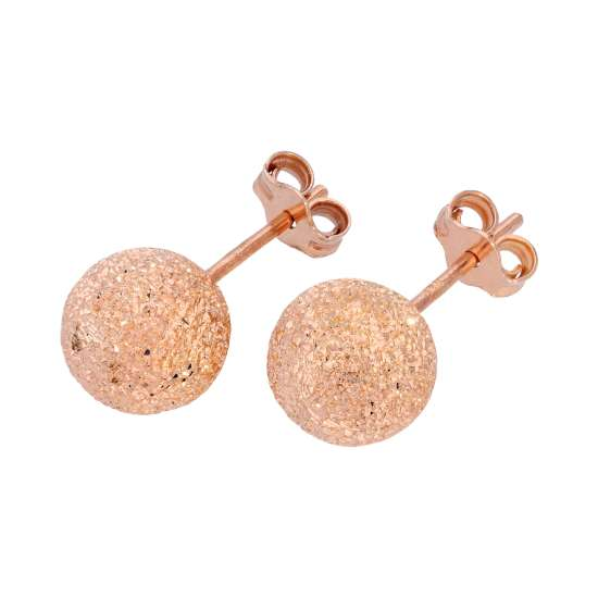 Rose Gold Plated Frosted Sterling Silver Ball Stud Earrings 8mm