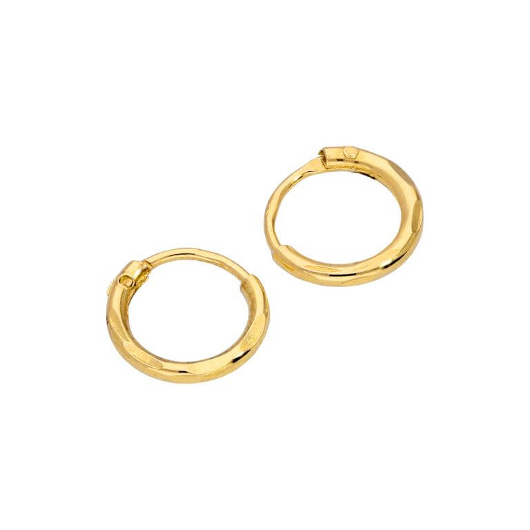 Yellow Gold Plated Sterling Silver Diamond Cut Sleeper 8mm Hoop Earrings