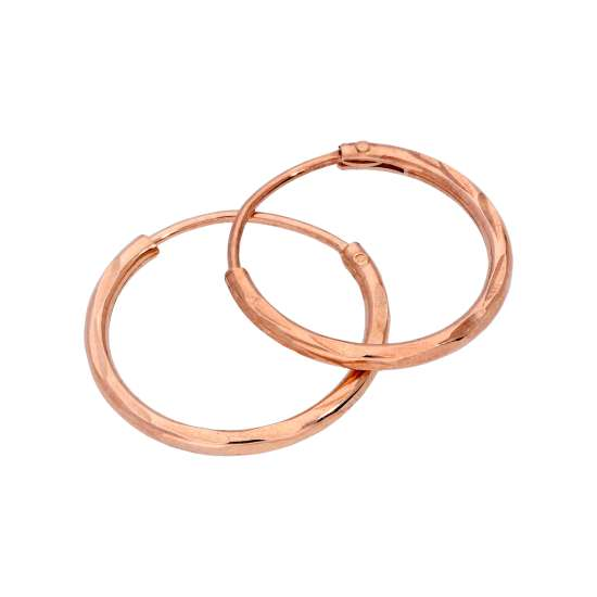 Rose Gold Plated Sterling Silver Diamond Cut Sleeper 14mm Hoop Earrings