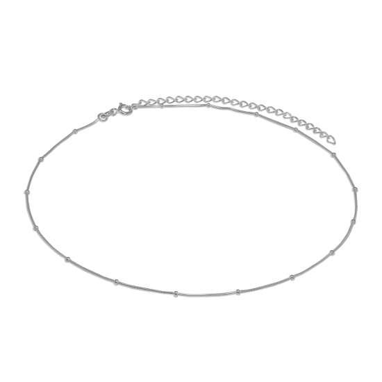 Sterling Silver 1mm Beaded Snake Chain Choker 12 Inch + 3 Inch Extender