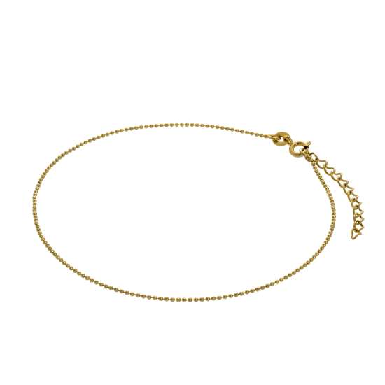 Gold Plated Sterling Silver 1mm Bead Anklet 9 + 1.5 Inches