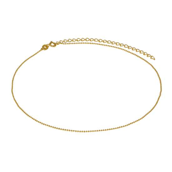Gold Plated Sterling Silver 1mm Bead Chain Choker 12 + 3 Inches