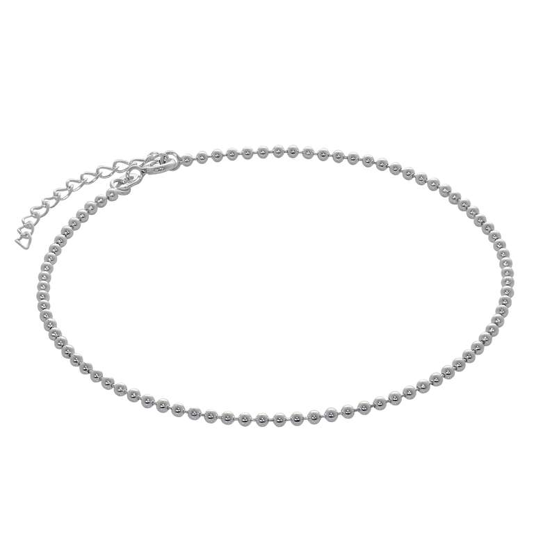 Sterling Silver 2mm Bead Chain Adjustable Anklet 9 + 1.5 Inch