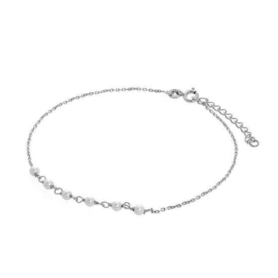 Sterling Silver & Pearl Hammered Trace Anklet 9 + 1.5 Inches