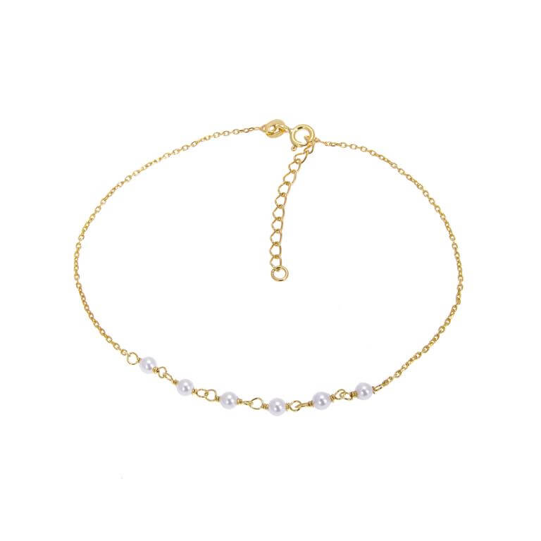 Gold Plated Sterling Silver & Pearl Hammered Trace Anklet 9 + 1.5 Inches