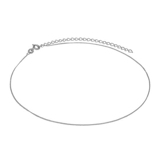 Sterling Silver Diamond Cut Curb Choker 12 + 3 Inches