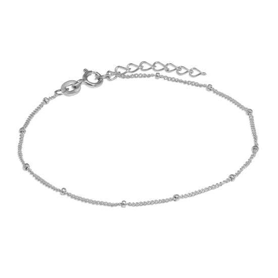Sterling Silver Bobble Diamond Cut Curb Bracelet