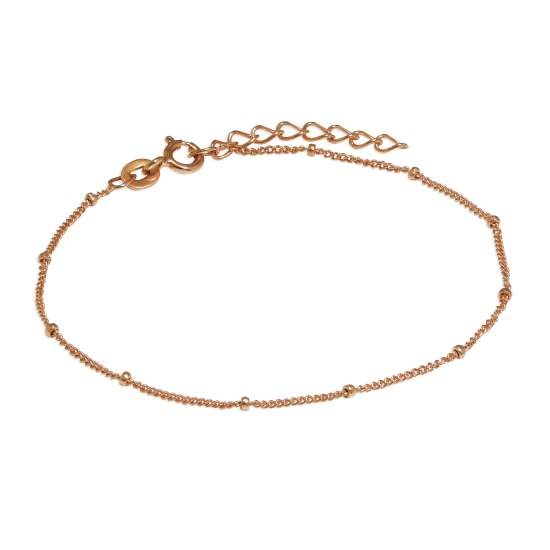 Rose Gold Plated Sterling Silver Beaded Diamond Cut Curb Bracelet