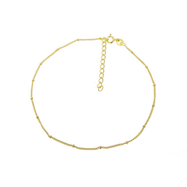 Gold Plated Sterling Silver Bobble Anklet - 9 + 1.5 Inches
