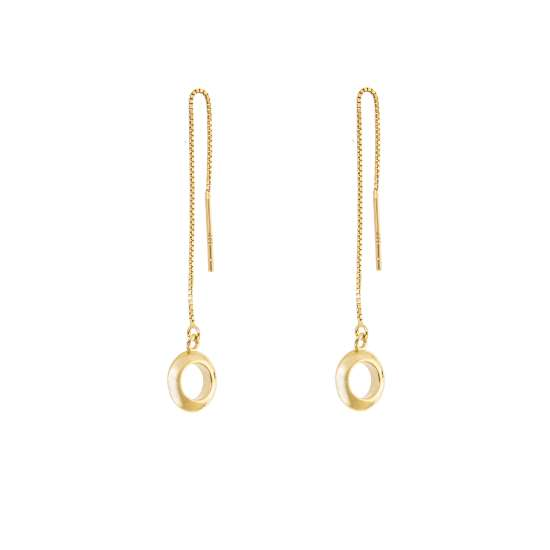 Yellow Gold Plated Sterling Silver Circle Pull Through Earrings