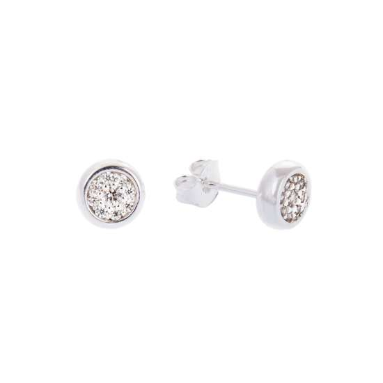 Sterling Silver Round Clear CZ Pave Stud Earrings