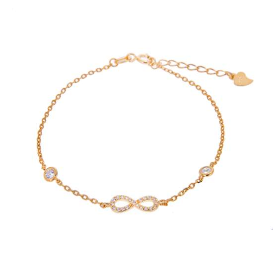 Yellow Gold Plated Fine Sterling Silver Infinity & Round Clear CZ Adjustable Bracelet