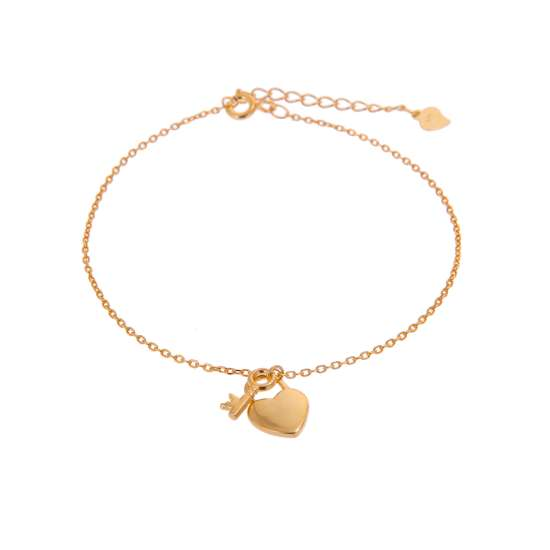 Yellow Gold Plated Sterling Silver Key & Heart Padlock Adjustable Bracelet