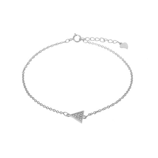 Sterling Silver Triangle Clear CZ Pave Adjustable Bracelet