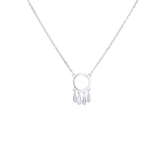 Sterling Silver Dream Catcher Clear CZ Necklace