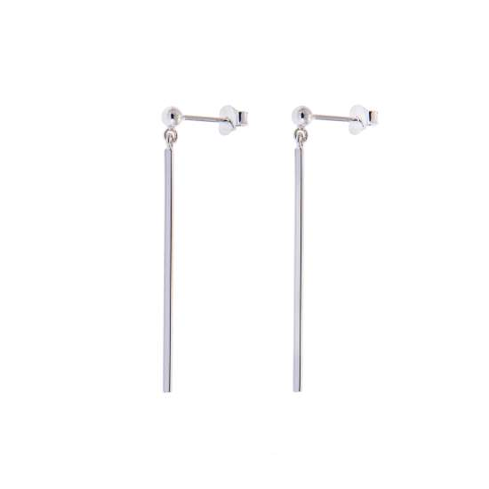 Sterling Silver Long Bar Drop Ball Stud Earrings