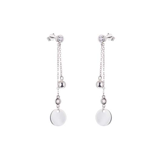 Sterling Silver Circle Disc Ball CZ Stud Dangle Earrings