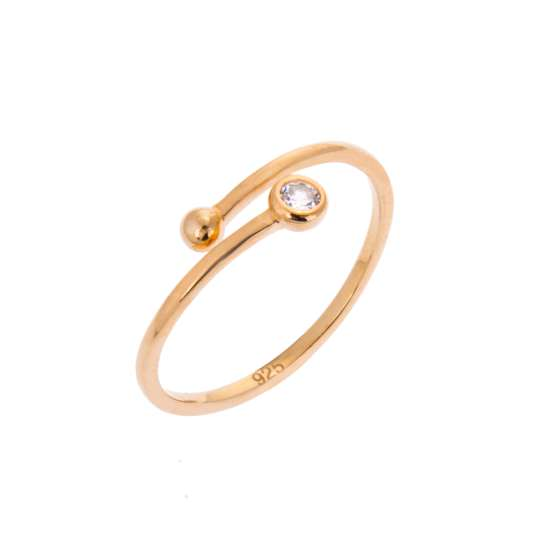 Yellow Gold Plated Sterling Silver Round Clear CZ & Ball Minimalist Open Adjustable Ring