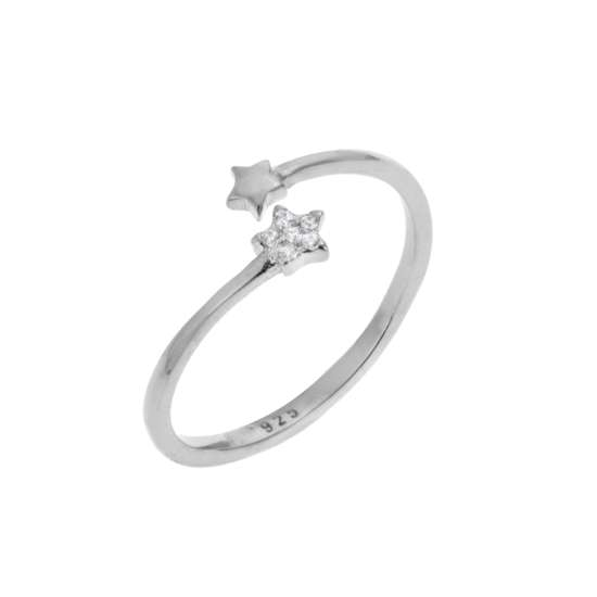 Sterling Silver Tiny Stars Clear CZ Pave Open Adjustable Ring