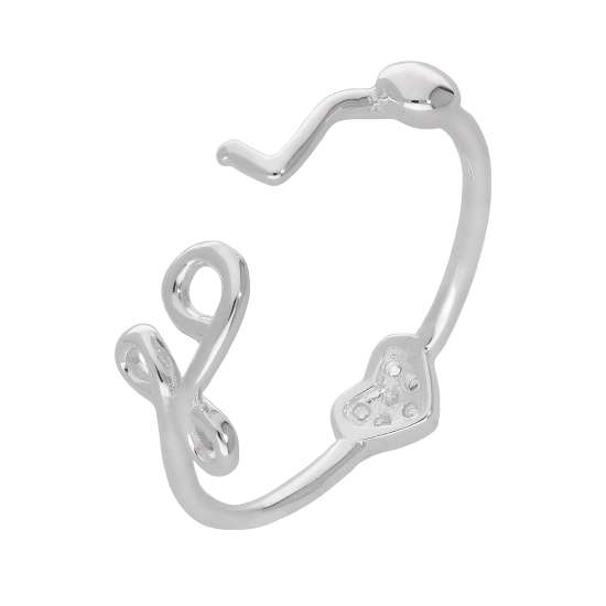 Sterling Silver Heart Clear CZ Pave Love Open Adjustable Ring