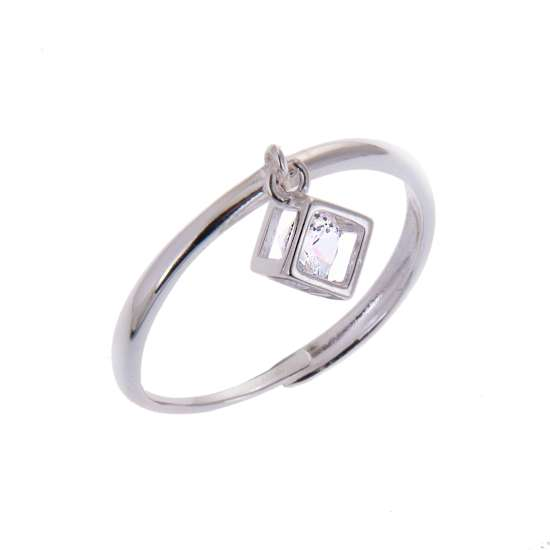 Sterling Silver Square Cube Clear CZ Drop Dangle Adjustable Ring