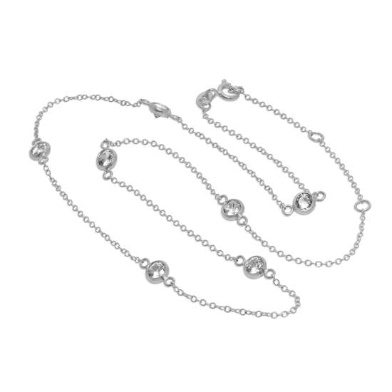 Sterling Silver CZ Circle Chain Necklace - 18 Inches