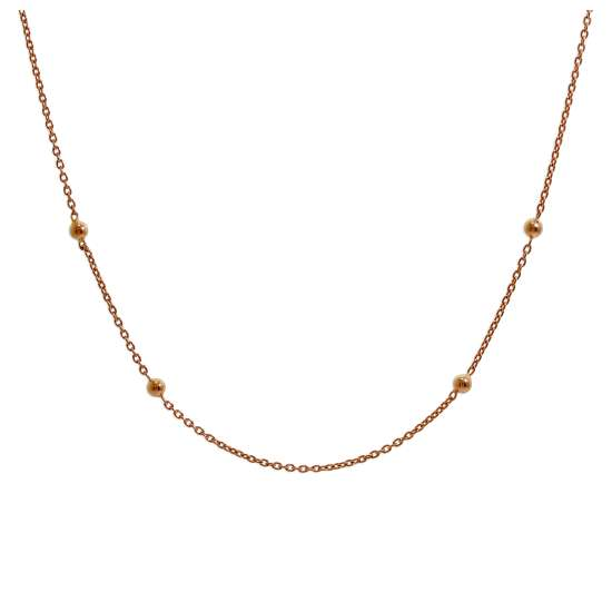 Rose Gold Plated Sterling Silver Bobble Ball Chain Choker