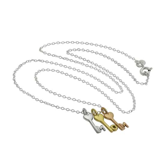 Sterling Silver Mum Triple Mixed Gold Plated Heart Key Necklace