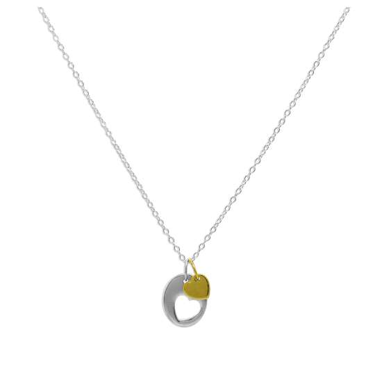 Sterling Silver Heart Cut Out Disc Yellow Gold Dipped Charm Pendant Necklace