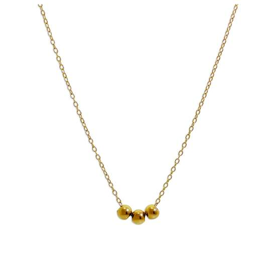 Yellow Gold Plated Sterling Silver Triple Ball Necklace